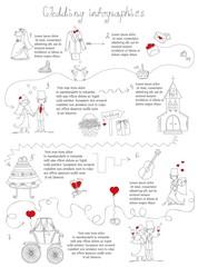 Набор свадебный каракули инфографики с элементами