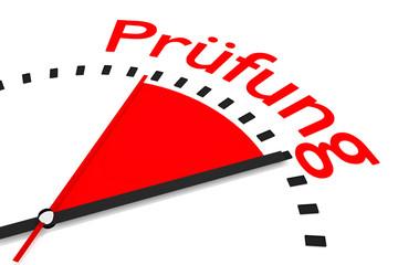 Uhr mit rotem Zeiger Prüfung Zeitdruck