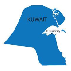 blue map of Kuwait