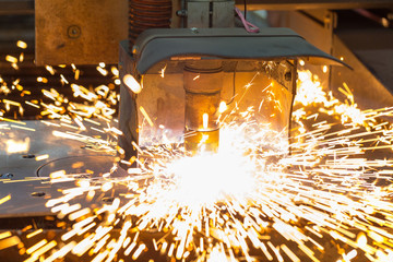 Laser cutting machine cuts steel metal sheet