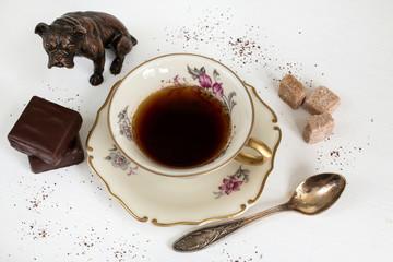 Coffee in vintage porcelain cup.
