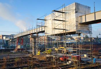 Brücke Brückenbau Bauarbeiten mit Gerüst