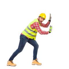 Manual worker pushing white banner