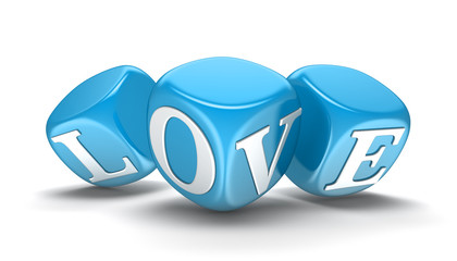 Dices and love (clipping path included)