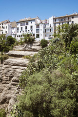 Panoramic view from a new bridge in Ronda, one of the famous whi
