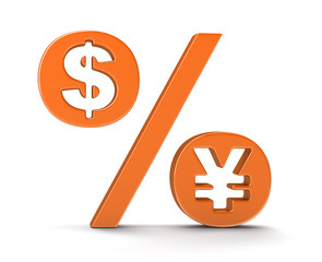 Percentage Sign with dollar and yen (clipping path included)