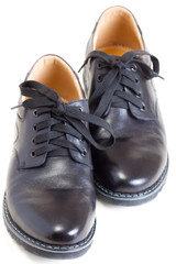 pair of men's leather black shoes