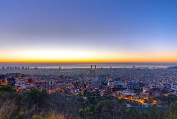Barcelona panorama before sunrise