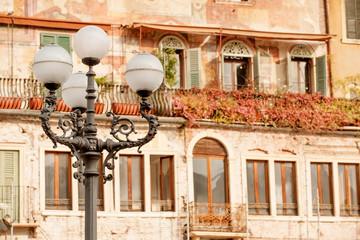 Beautiful old building on historical Piazza delle Erbe, Verona