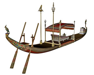 Egyptian sacred barge with throne - 3D render