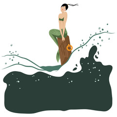 Vector mermaid sitting among the raging waves on the pier column