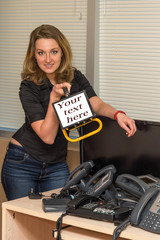 Woman Holding a Projector with text to be inserted