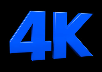 Ultra HD 4k icon.  4K letters on black background