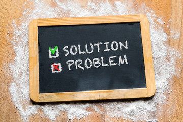 a board with the choice from solution or problem