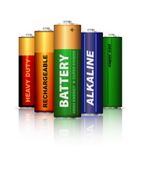 Set of AA batteries isolated on white