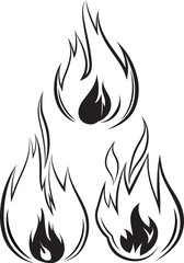 Set of 3 vector fires in outline style