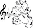 Treble clef and musical notes with decorative floral swirls