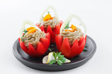 Tomatoes stuffed with eggplant baba ganoush