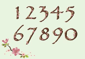 Cherry blossom font digits