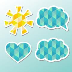 Set of speech bubbles, cloud and sun.