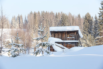 Wooden structure in the woods in the snow