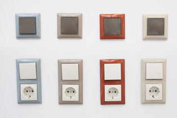 European wall outlet with switches