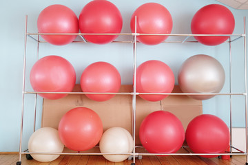 Exercise balls in fitness center