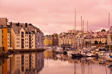 Cityscape of Alesund Norway at sunset