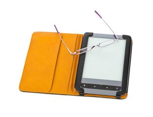 E-book reader and glasses