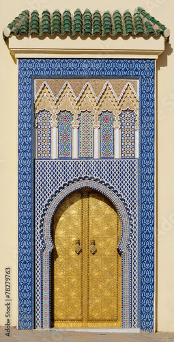 Papiers peints Chateau Morocco. Big golden doors of the royal palace of Fes