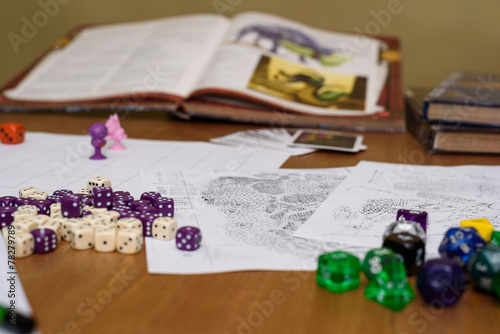 Leinwanddruck Bild role playing game set up on table on beige background
