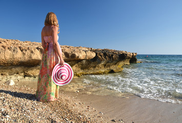 Girl on the beach. Cyprus