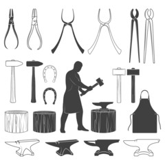 Set of vintage blacksmith icons and design elements