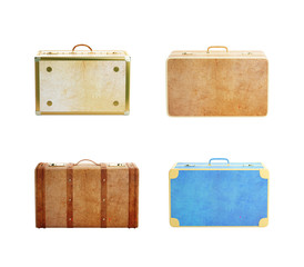 four leather suitcase