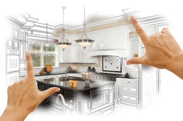 Hands Framing Custom Kitchen Design Drawing and Photo Combinatio