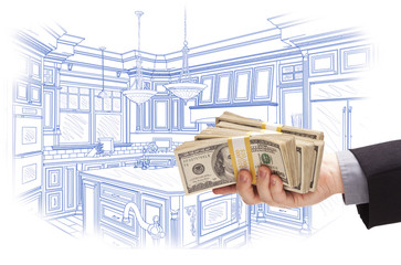 Hand Holding Cash Over Custom Kitchen Design Drawing