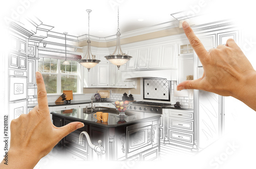 Hands Framing Custom Kitchen Design Drawing and Photo Combinatio poster