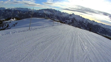 Beautiful winter high mountains landscape, pov