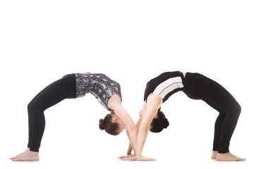 Two Yogi female partners in yoga asana dhanurasana