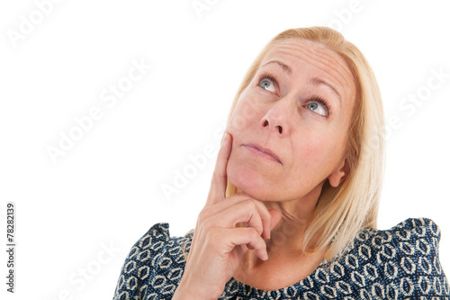 canvas print picture Woman of mature age looking up