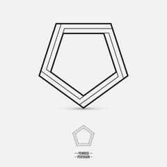 Penrose pentagon, impossible shape, line design, vector