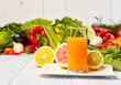 Постер, плакат: healthy vegetable juices for refreshment and as an antioxidant