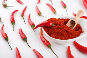 Red chili pepper with chili powder