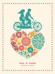 Vector abstract decorative circles couple on tandem bicycle