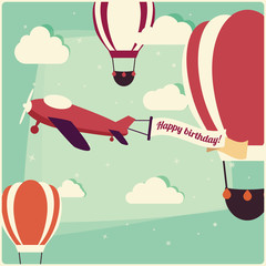 Birthday background hot air balloons and an airplane