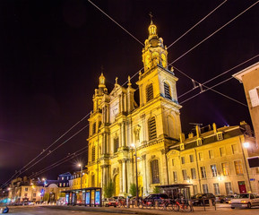 View of Nancy Cathedral at night - Lorraine, France