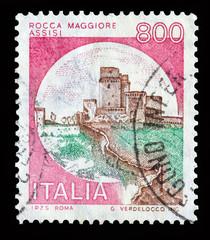 """Italy castle stamp: """"Rocca Maggiore Assisi"""""""