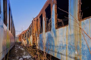 Abandoned passenger railcar