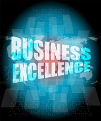 business excellence words on digital touch screen