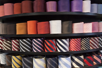 neckties on the shelf